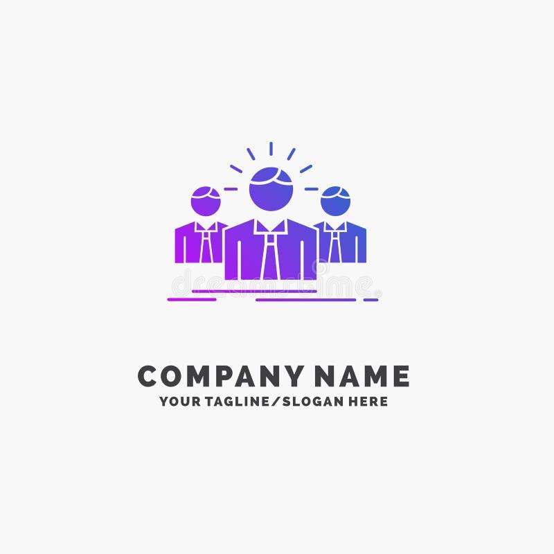 Biznes, kariera, pracownik, przedsiębiorca, lidera logo Purpurowy Biznesowy szablon Miejsce dla Tagline royalty ilustracja