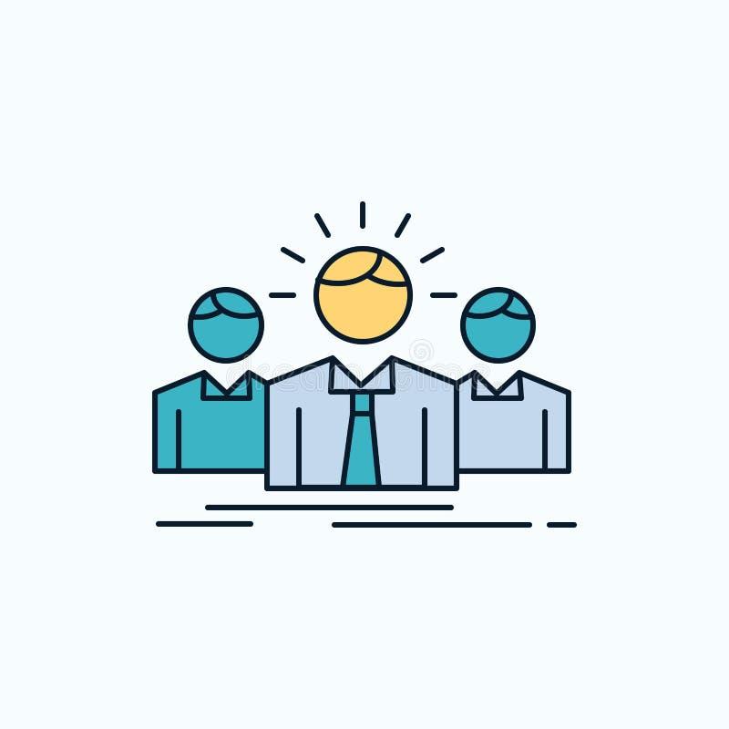 Biznes, kariera, pracownik, przedsiębiorca, lidera mieszkania ikona ziele?, kolor royalty ilustracja