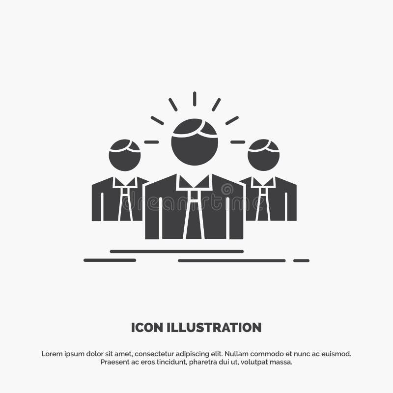 Biznes, kariera, pracownik, przedsi?biorca, lider ikona glifu wektorowy szary symbol dla UI, UX, strona internetowa i wisz?cej oz royalty ilustracja