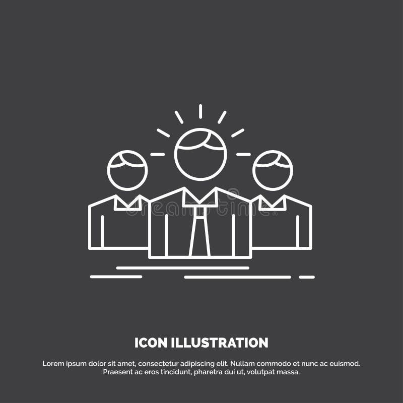 Biznes, kariera, pracownik, przedsi?biorca, lider ikona Kreskowy wektorowy symbol dla UI, UX, strona internetowa i wisz?cej ozdob ilustracji