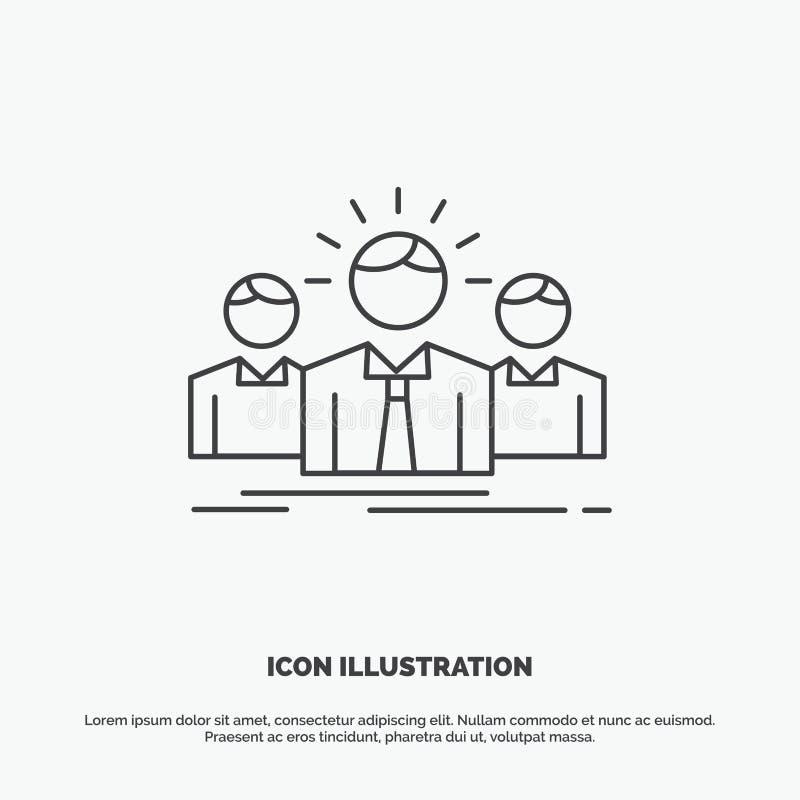 Biznes, kariera, pracownik, przedsi?biorca, lider ikona Kreskowy wektorowy szary symbol dla UI, UX, strona internetowa i wisz?cej ilustracja wektor