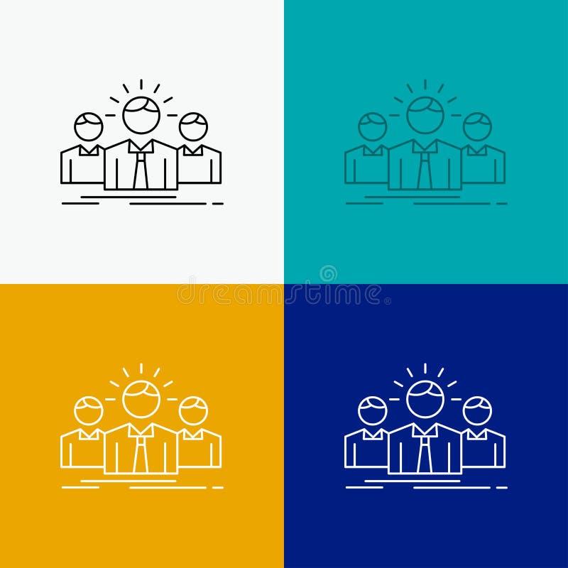Biznes, kariera, pracownik, przedsi?biorca, lider ikona Nad R??norodnym t?em Kreskowego stylu projekt, projektuj?cy dla sieci i a royalty ilustracja