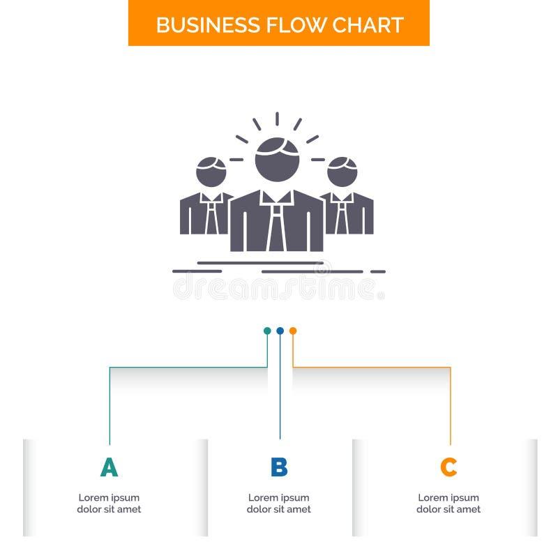 Biznes, kariera, pracownik, przedsi?biorca, lider Sp?ywowej mapy Biznesowy projekt z 3 krokami Glif ikona Dla prezentacji t?a royalty ilustracja