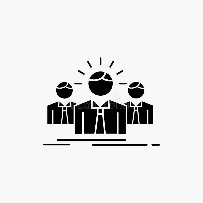 Biznes, kariera, pracownik, przedsi?biorca, lidera glifu ikona Wektor odosobniona ilustracja royalty ilustracja