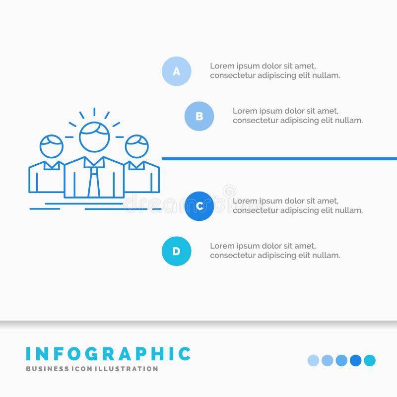 Biznes, kariera, pracownik, przedsi?biorca, lidera Infographics szablon dla strony internetowej i prezentacja, Kreskowa B??kitna  ilustracja wektor
