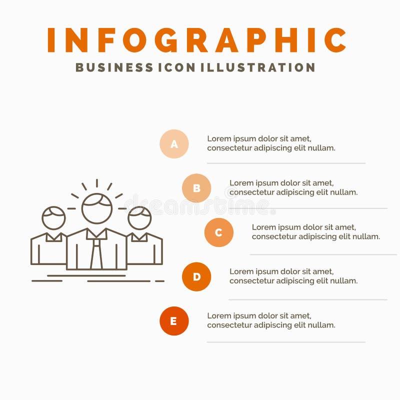 Biznes, kariera, pracownik, przedsi?biorca, lidera Infographics szablon dla strony internetowej i prezentacja, Kreskowa Szara iko royalty ilustracja