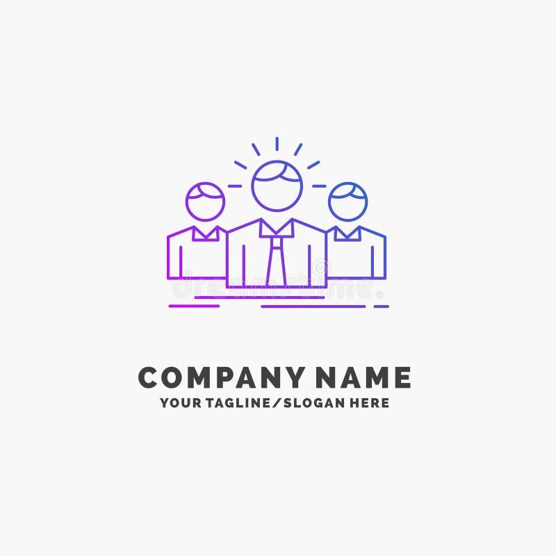 Biznes, kariera, pracownik, przedsi?biorca, lidera logo Purpurowy Biznesowy szablon Miejsce dla Tagline royalty ilustracja