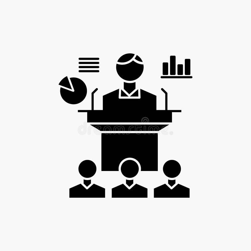 Biznes, konferencja, konwencja, prezentacja, seminaryjna glif ikona Wektor odosobniona ilustracja ilustracji