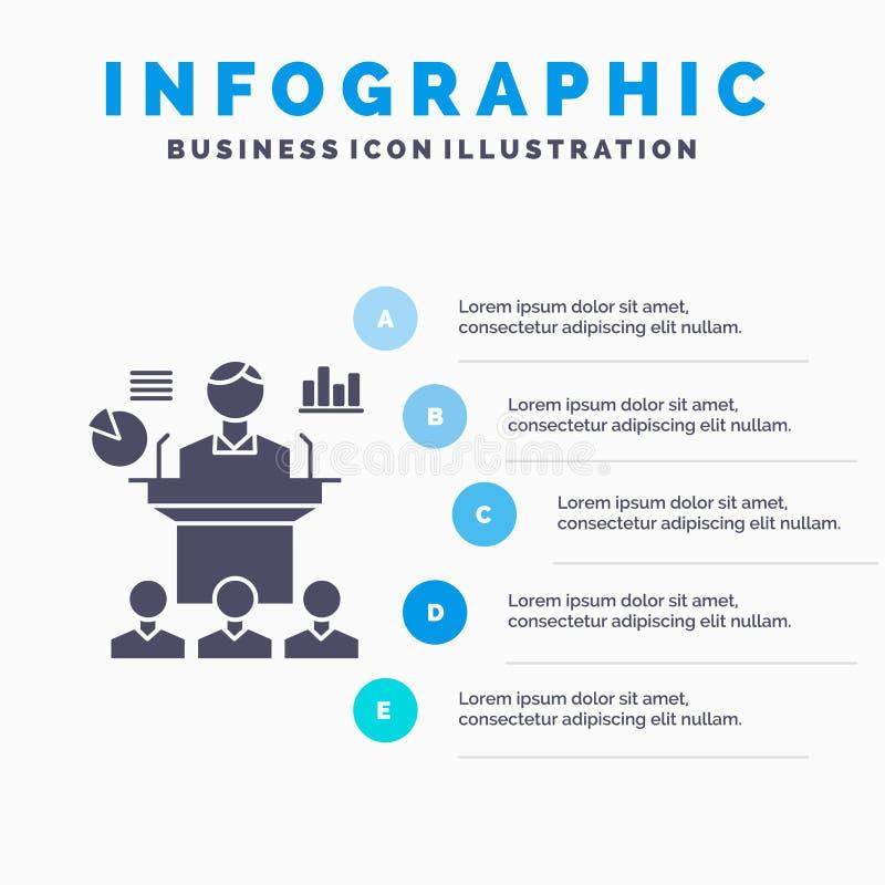 Biznes, konferencja, konwencja, prezentacja, seminaryjny Infographics szablon dla strony internetowej i prezentacja, glif Szara i royalty ilustracja
