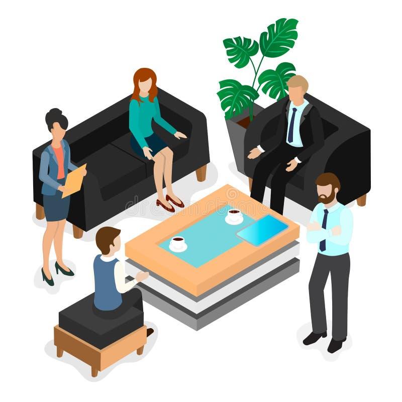 biznes konsultuje ogrzewającą debaty dyskusję target62_1_ biurowej osoby ilustracji