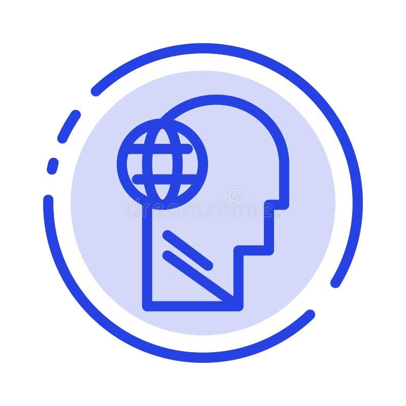 Biznes, kula ziemska, głowa, umysł, Myśleć błękit Kropkującą linii linii ikonę ilustracja wektor