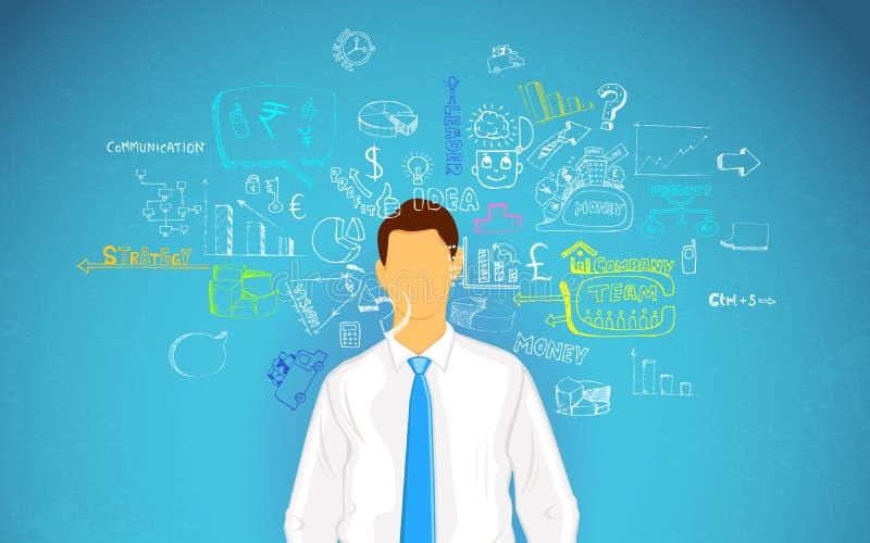 Biznes mężczyzna główkowanie ilustracji