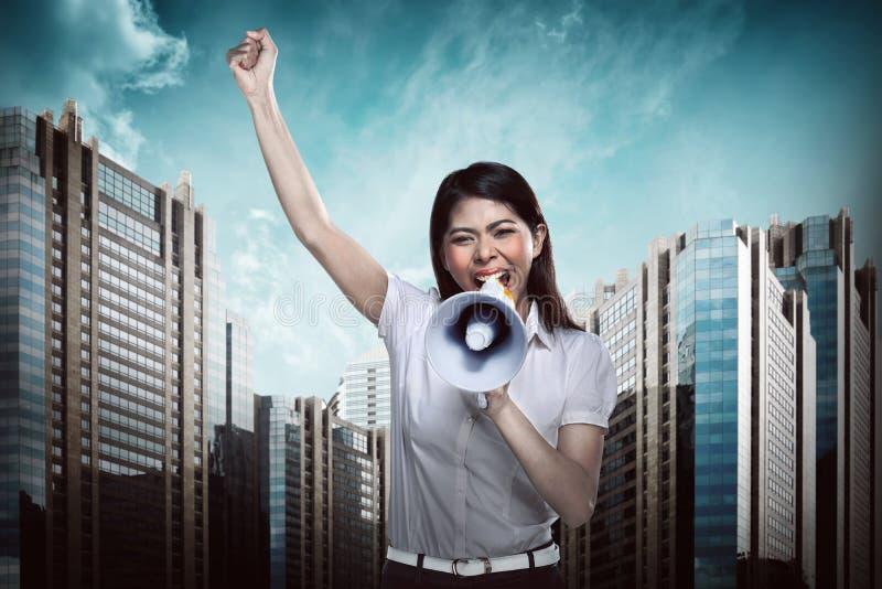 biznes megafon użyć kobiet zdjęcia stock