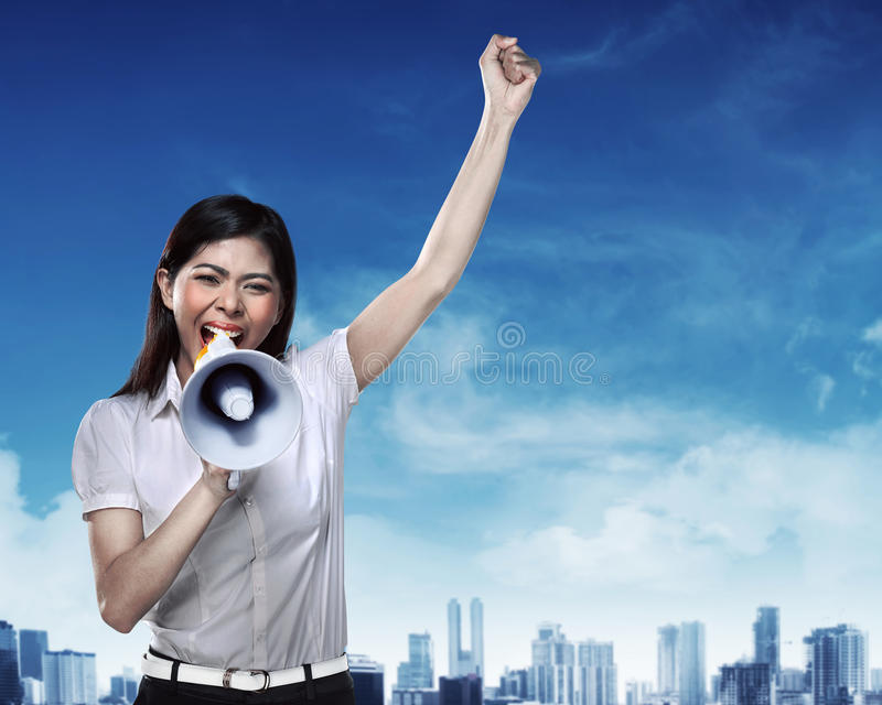 biznes megafon użyć kobiet zdjęcia royalty free