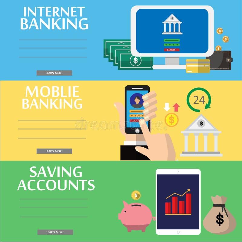 Biznes, Mobilna zapłata, internet bankowość, savings kont płascy ilustracyjni pojęcia ustawiający Nowożytny płaski projekta pojęc ilustracji
