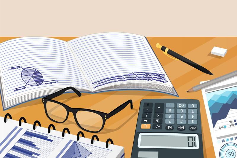 Biznes notatki i Statystyczna Documantation karta royalty ilustracja
