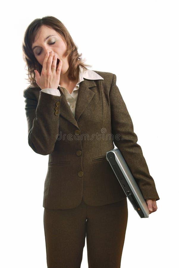 biznes odizolowywająca zmęczona biała kobieta obrazy stock