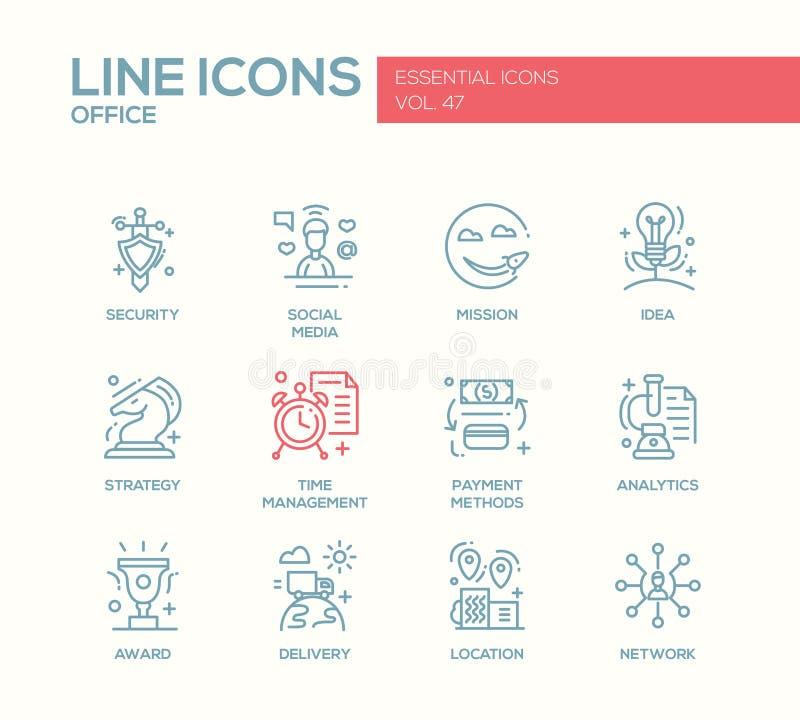Biznes - płaskie projekt linii ikony ustawiać royalty ilustracja