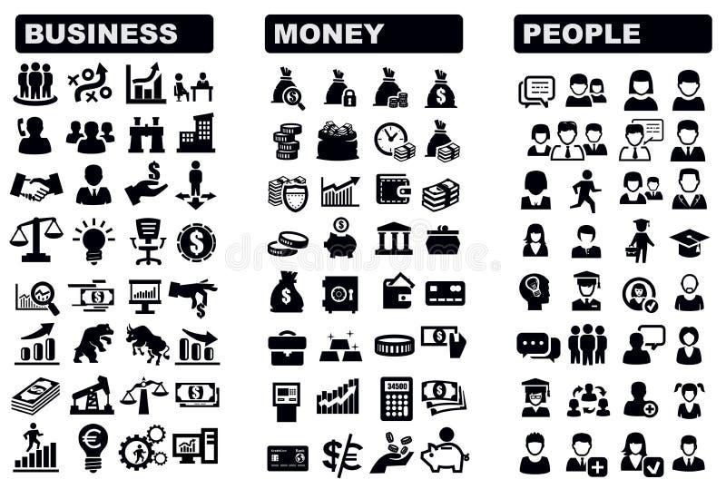 Biznes, pieniądze i ludzie ikon, ilustracja wektor