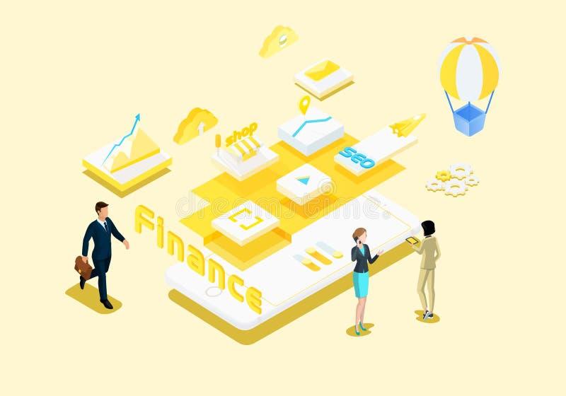 Biznes pieniężny ilustracyjny isometric wektor royalty ilustracja