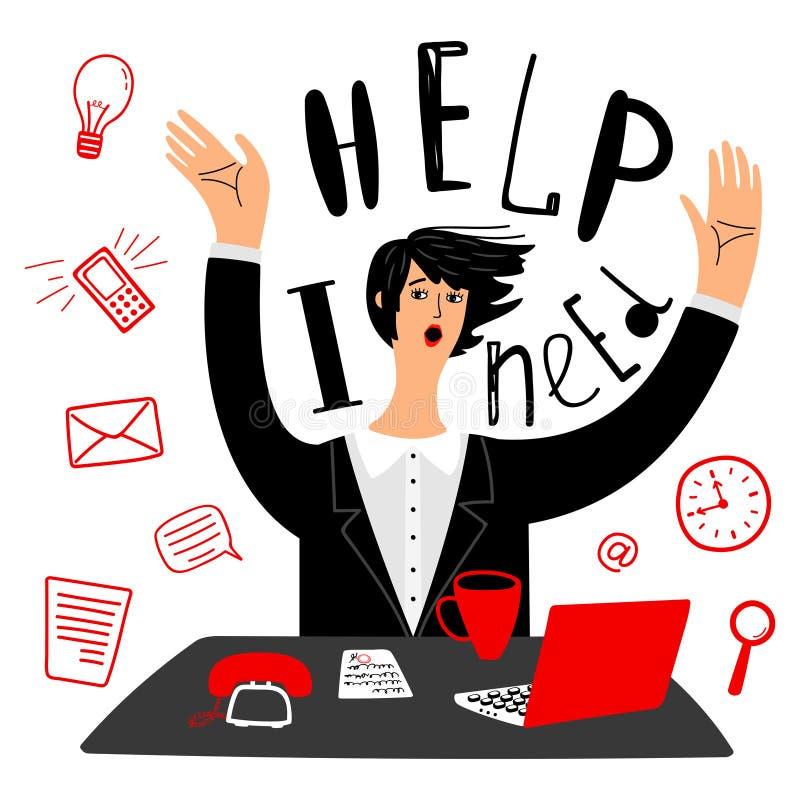 Biznes potrzebuje pomoc Wektorowy bizneswoman, sekretarka lub czasu zarządzanie ilustracja wektor