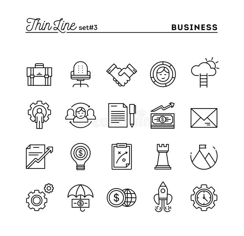 Biznes, przedsiębiorczość, praca zespołowa, cele i więcej, cieniejemy linię ilustracji