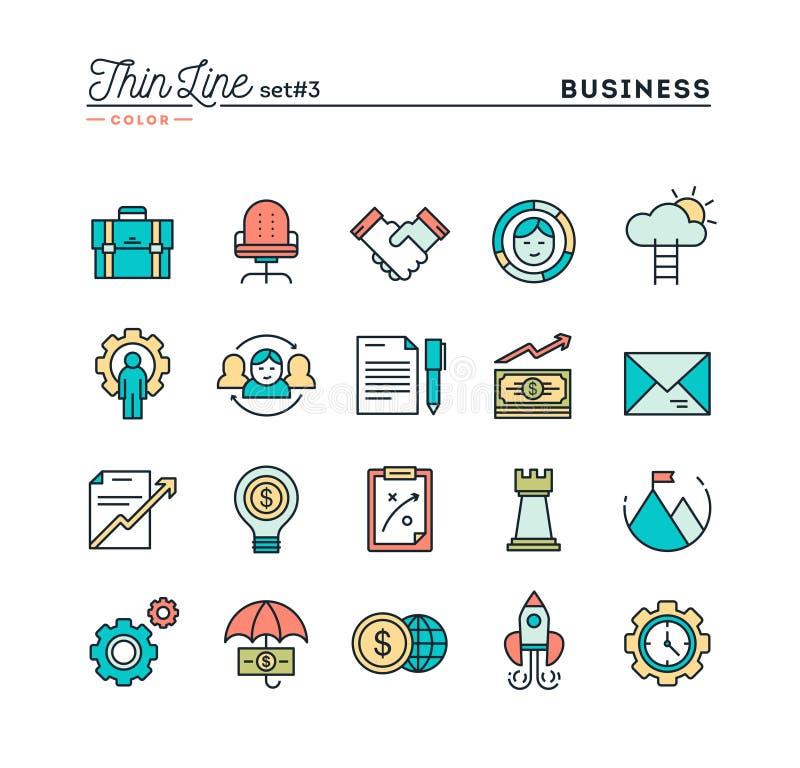 Biznes, przedsiębiorczość, praca zespołowa, cele i więcej, cieniejemy linię ilustracja wektor