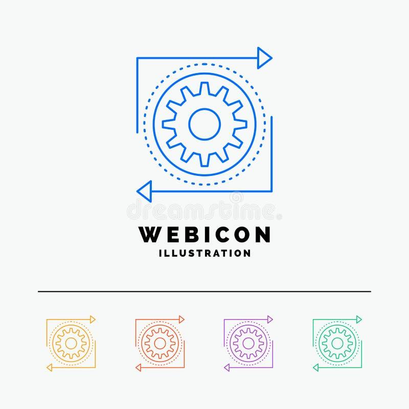 Biznes, przekładnia, zarządzanie, operacja, przetwarza 5 koloru linii sieci ikony szablon odizolowywającego na bielu r?wnie? zwr? ilustracji