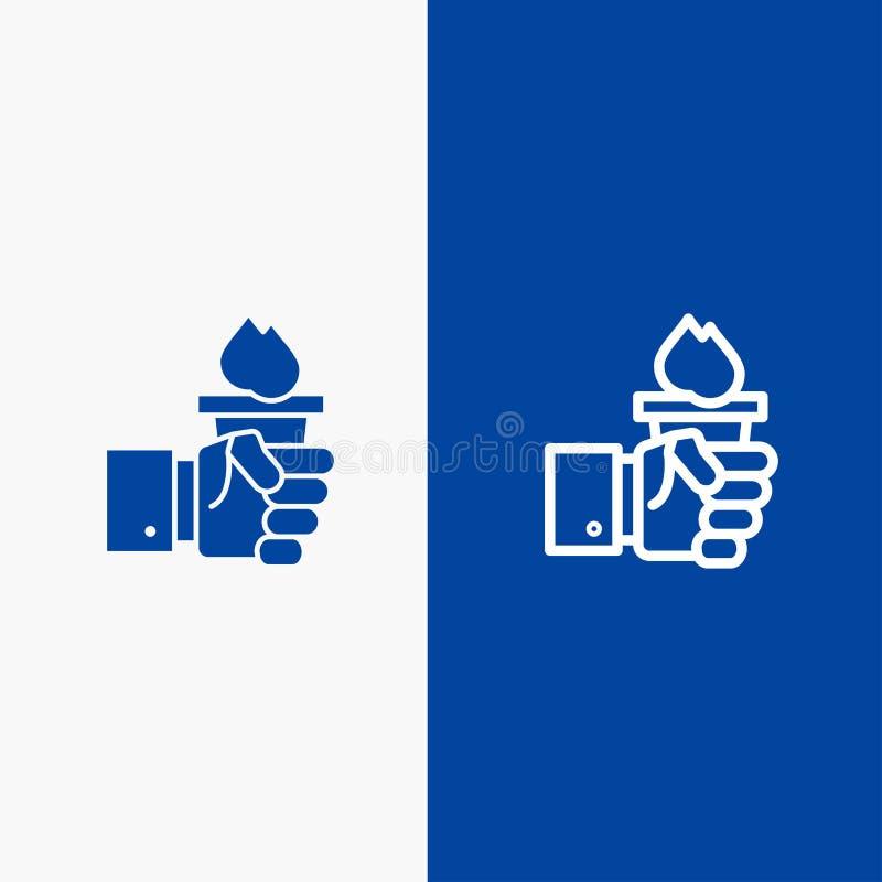Biznes, ręka, lider, przywódctwo, Błękitnej ikony błękita Stały sztandar, Olimpijskiej linii, glifu Stałej ikony sztandaru glifu  royalty ilustracja