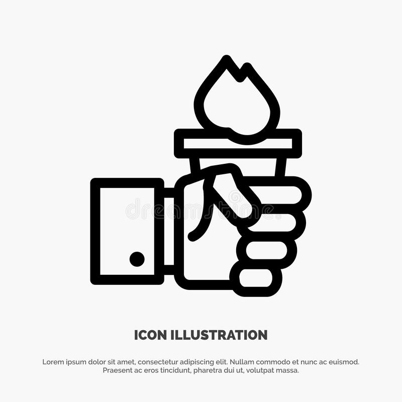 Biznes, ręka, lider, przywódctwo, Olimpijski Kreskowy ikona wektor ilustracji