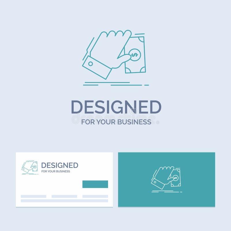 biznes, ręka, pieniądze, zarabia, dolarowy Biznesowy logo linii ikony symbol dla twój biznesu Turkusowe wizyt?wki z gatunku logo royalty ilustracja