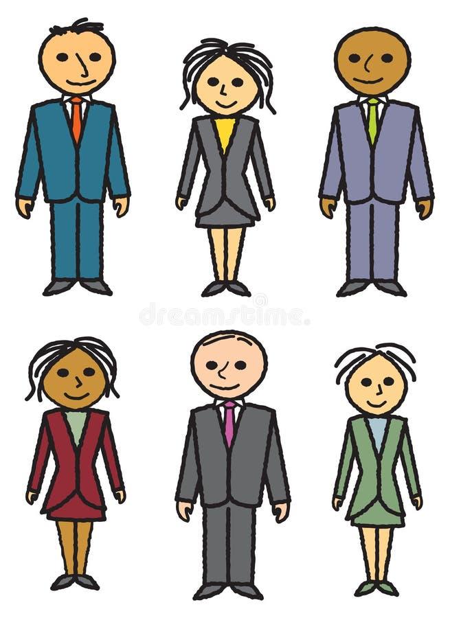 biznes rysujący ludzie sześć ilustracja wektor