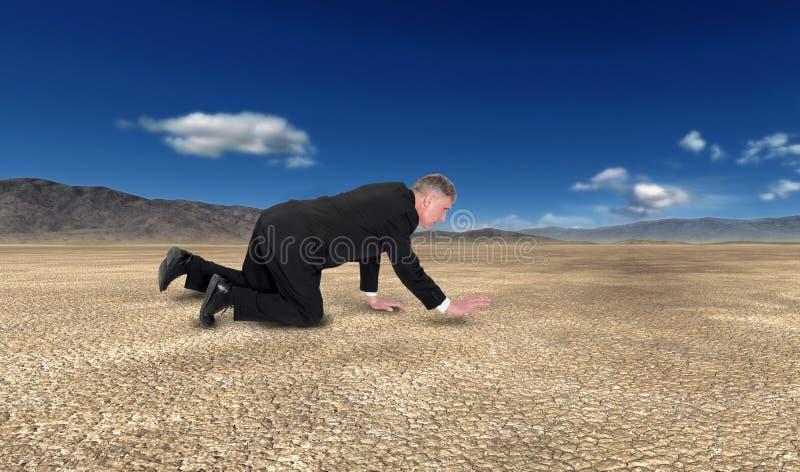 Biznes, sprzedaże, marketing, pustynia, mężczyzna czołganie fotografia stock