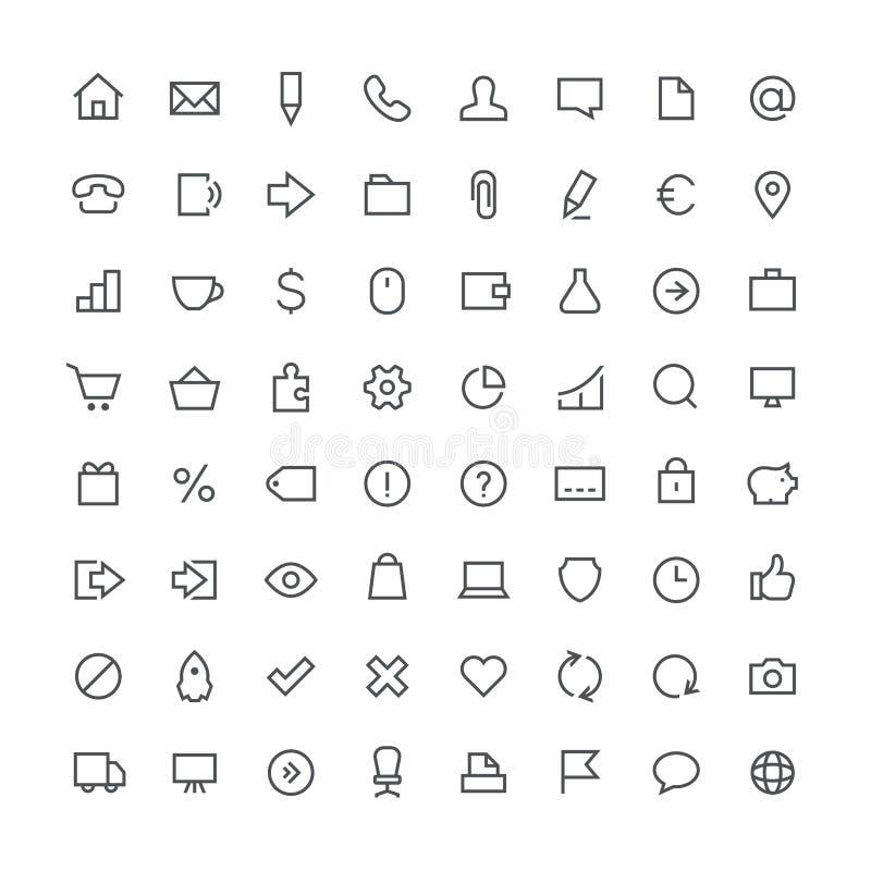 Biznes sumy konturu ikona ustawia 64 ilustracji