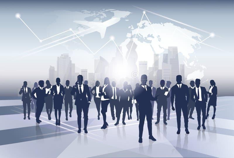 Biznes sylwetki Drużynowych biznesmenów Grupowi działy zasobów ludzkich nad Światowej mapy wycieczki lota pojęciem ilustracja wektor