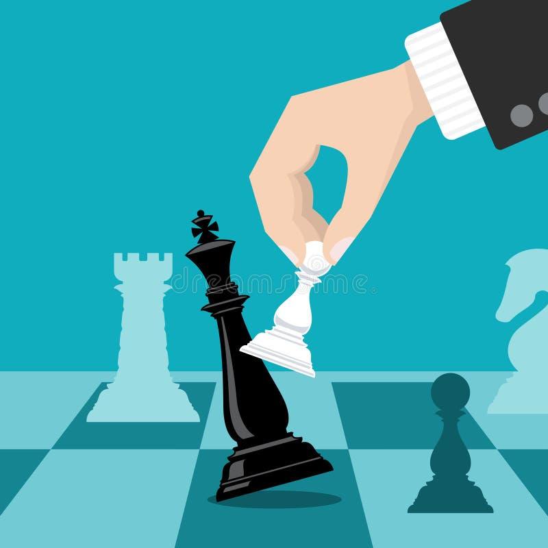 Biznes szachuje strategii wektorowego pojęcie z ręki mienia szachy pionkiem ilustracji