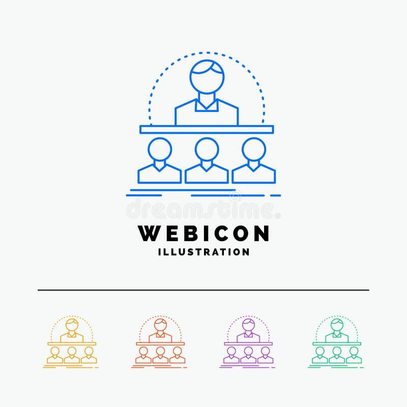 Biznes, trener, kurs, instruktor, mentora 5 koloru linii sieci ikony szablon odizolowywający na bielu r?wnie? zwr?ci? corel ilust royalty ilustracja