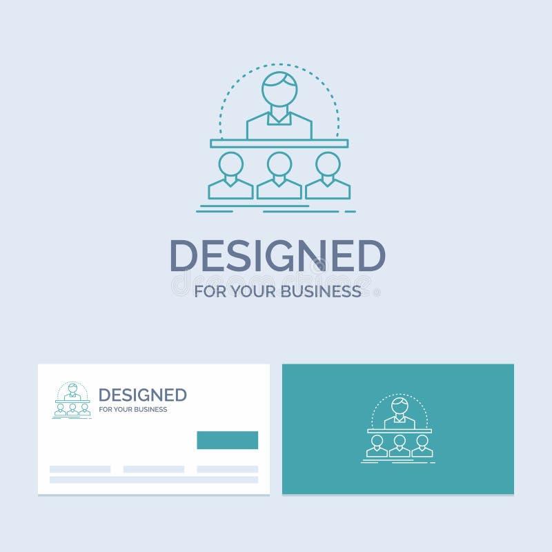 Biznes, trener, kurs, instruktor, mentora logo linii ikony Biznesowy symbol dla twój biznesu Turkusowe wizyt?wki z gatunkiem royalty ilustracja