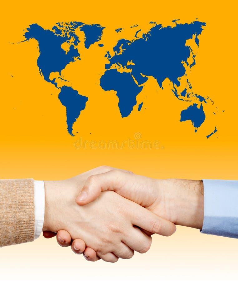 biznes uścisk dłoni w świat zdjęcia royalty free