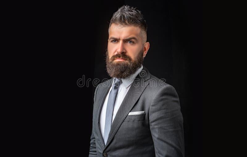 Biznes ufny Spotykać kostium Biznesmen w zmroku popielatym kostiumu Mężczyzna w klasycznym kostiumu, koszula i krawacie, fotografia stock