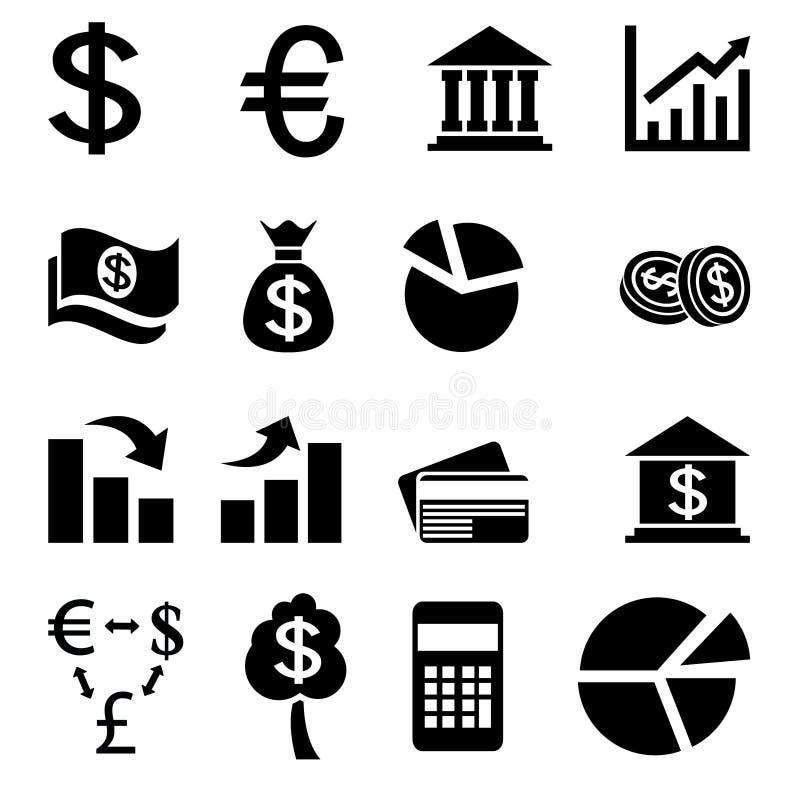 Biznes waluty powiązane ikony ilustracja wektor