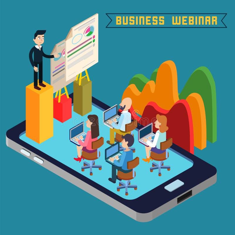 Biznes webinar Webinar technologia Sieci konwersatorium nowoczesna technologia royalty ilustracja