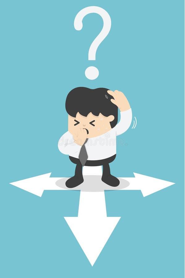 Biznes wprawiać w zakłopotanie i trudny decydować dla ich swój ścieżki ilustracja wektor