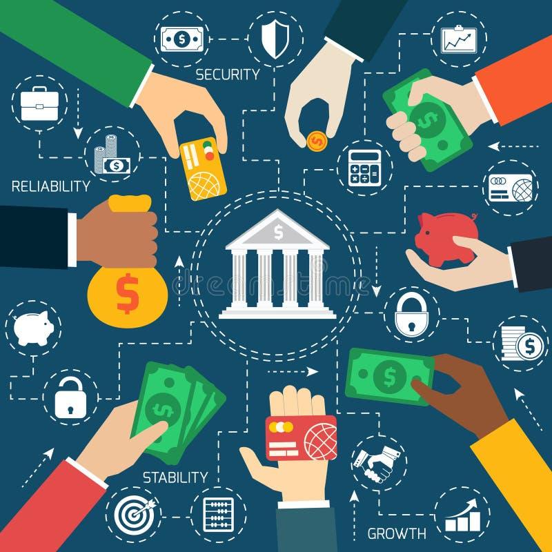Biznes wręcza pieniężnego flowchart ilustracja wektor
