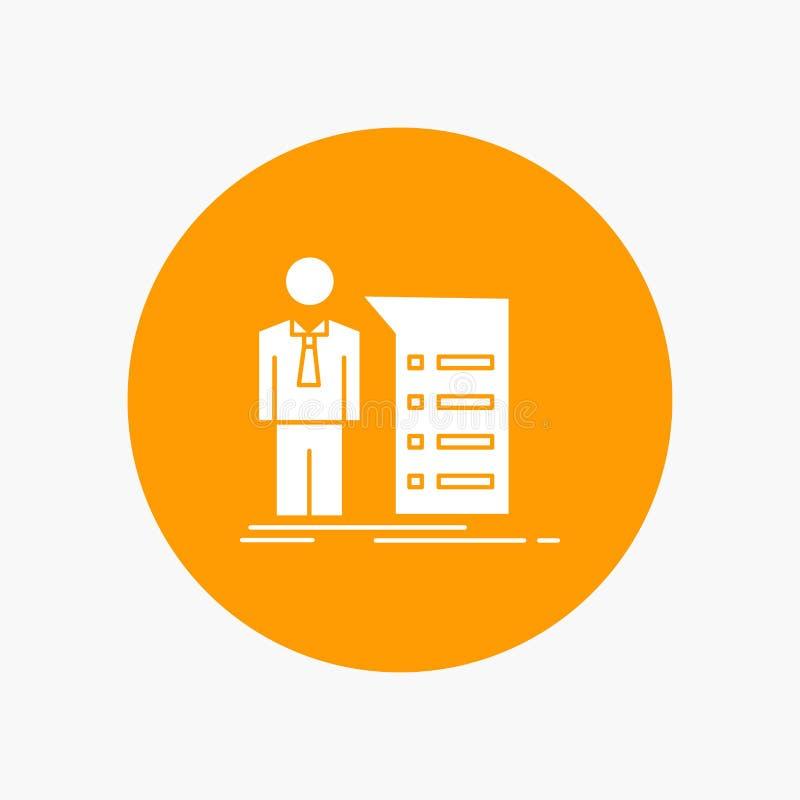 Biznes, wyjaśnienie, wykres, spotkanie, prezentacja glifu Biała ikona w okręgu Wektorowa guzik ilustracja ilustracji