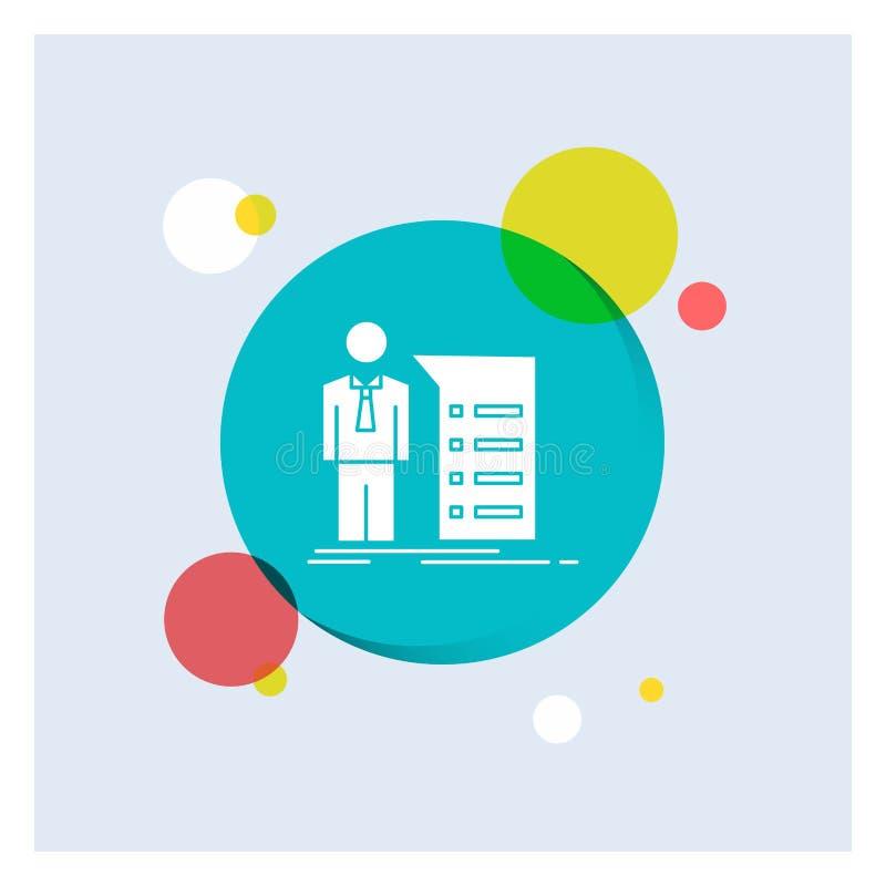 Biznes, wyjaśnienie, wykres, spotkanie, prezentacja glifu Białej ikony okręgu kolorowy tło ilustracja wektor