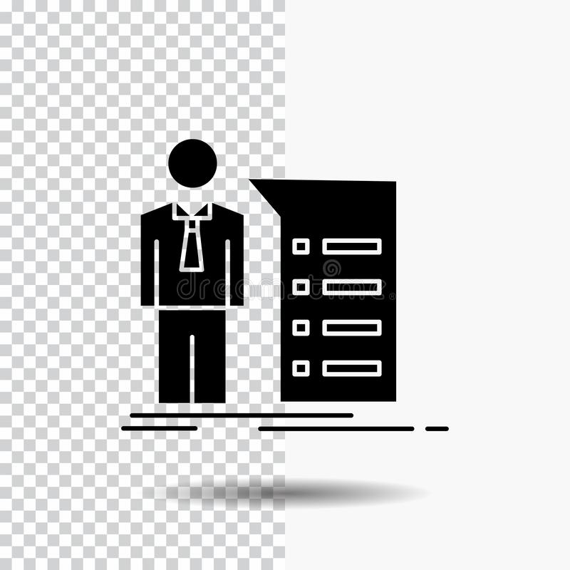 Biznes, wyjaśnienie, wykres, spotkanie, prezentacja glifu ikona na Przejrzystym tle Czarna ikona ilustracji