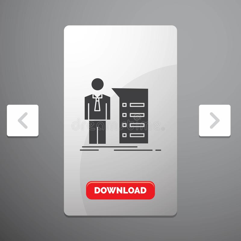 Biznes, wyjaśnienie, wykres, spotkanie, prezentacja glifu ikona w biby paginacji suwaka projekcie & Czerwony ściąganie guzik, royalty ilustracja