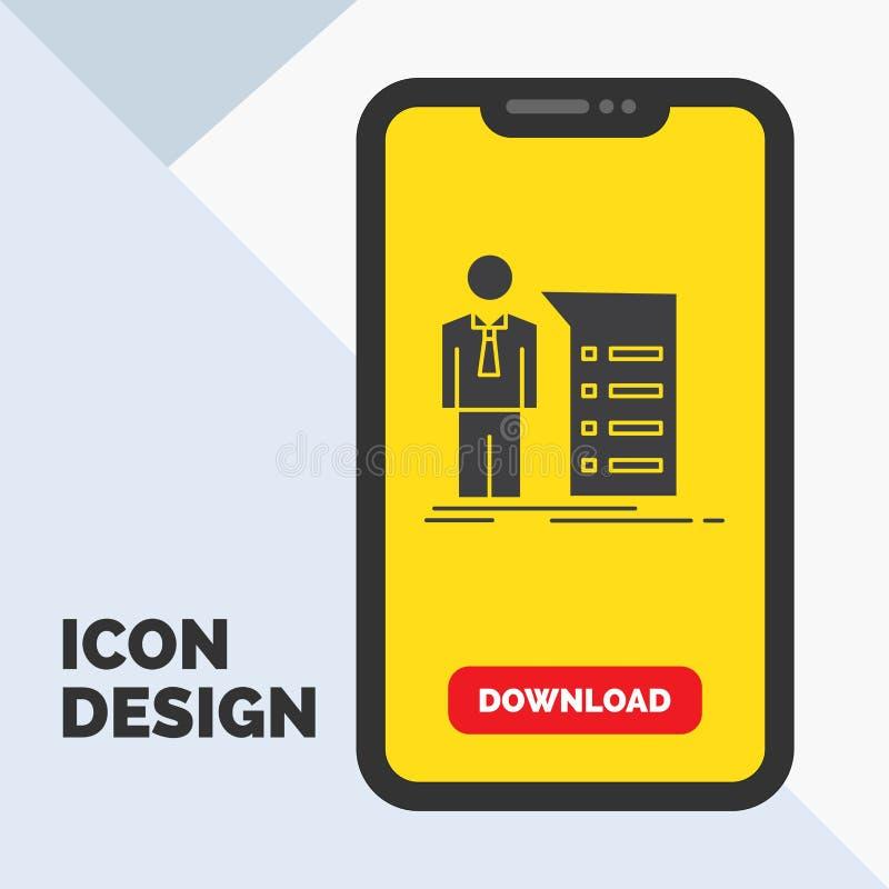 Biznes, wyjaśnienie, wykres, spotkanie, prezentacja glifu ikona w wiszącej ozdobie dla ściąganie strony ? ilustracji