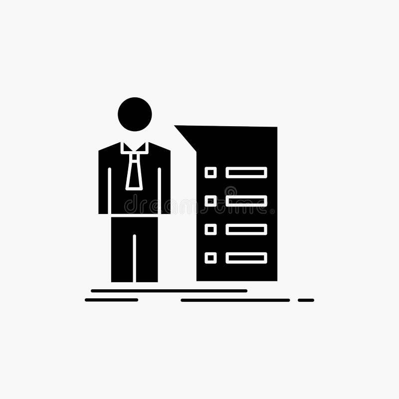 Biznes, wyjaśnienie, wykres, spotkanie, prezentacja glifu ikona Wektor odosobniona ilustracja ilustracja wektor